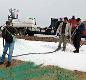 hydroseeer in snow